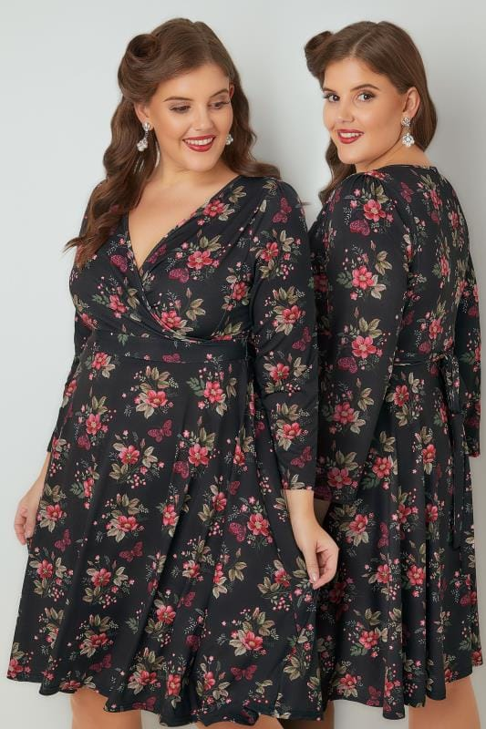 Plus Size Midi Dresses LADY VOLUPTUOUS Black & Multi Lyra Floral & Butterfly Print Dress