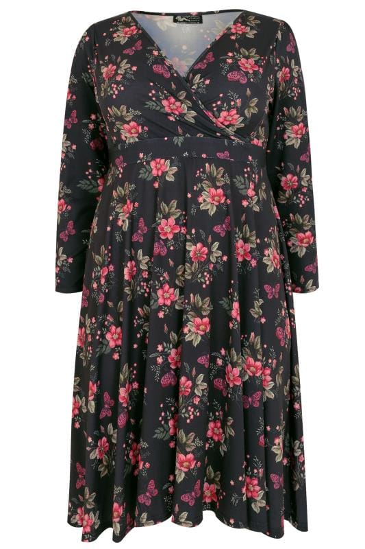 LADY VOLUPTUOUS Black & Multi Lyra Floral & Butterfly Print Dress
