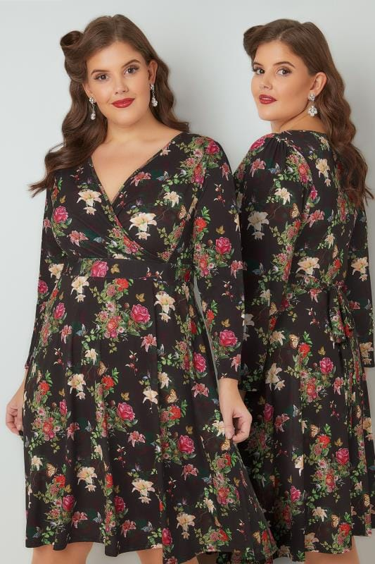 Midi Dresses LADY VOLUPTUOUS Black & Multi Lyra Floral Print Dress 138733