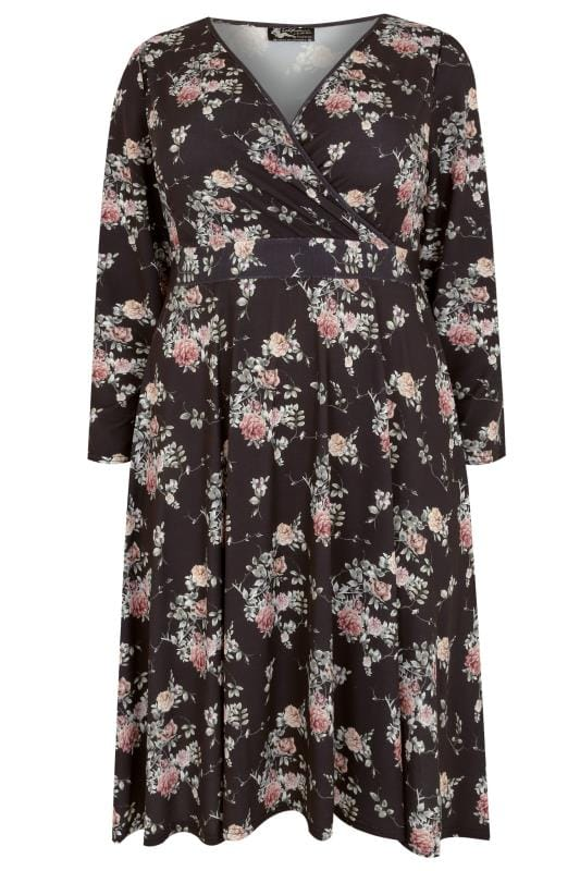 LADY VOLUPTUOUS Black & Multi Lyra Watercolour Floral & Butterfly Print Dress