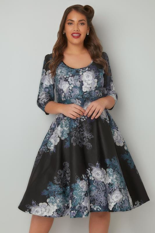 Swing & Shift Dresses LADY VOLUPTUOUS Black & Navy Pheobe Floral Paisley Print Dress 138744