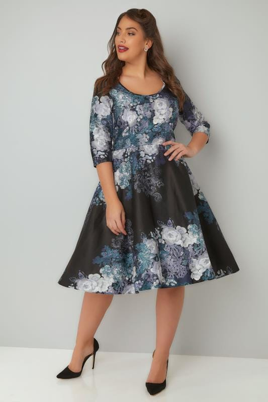 LADY VOLUPTUOUS Black & Navy Pheobe Floral Paisley Print Dress