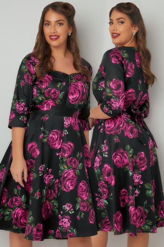 LADY VOLUPTUOUS Black & Pink Maria Floral Print Dress With Belted Waist