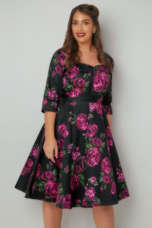 Lady Voluptuous Black  Pink Floral Print Dress With Belted Waist, Plus Size 16 To 32-2539