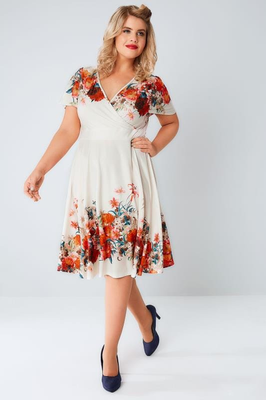 LADY VOLUPTUOUS Cream & Multi Floral Border Lyra Dress