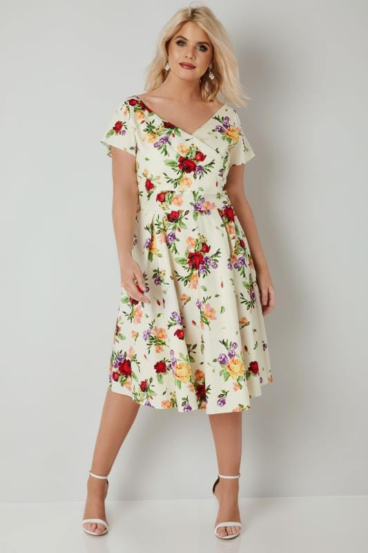 LADY VOLUPTUOUS Cream & Multi Floral Print Ursula Dress