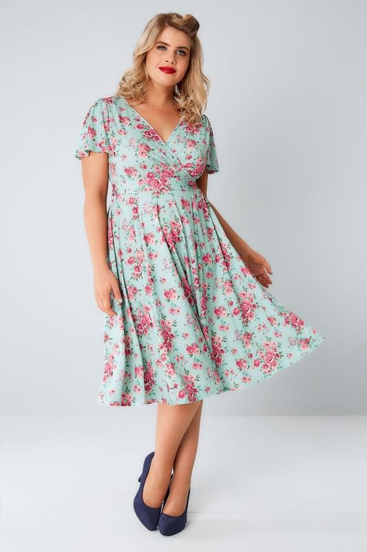 Midi Dresses LADY VOLUPTUOUS Mint & Pink Ditsy Floral Lyra Dress 138584