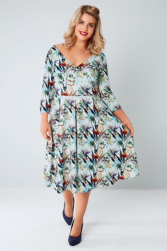 LADY VOLUPTUOUS Multi Tropical Print Marcella Dress