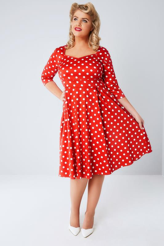 LADY VOLUPTUOUS Red & While Polka Dot Medusa Dress