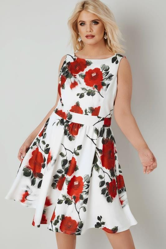 Plus Size Skater Dresses LADY VOLUPTUOUS White & Red Rose Print Dress