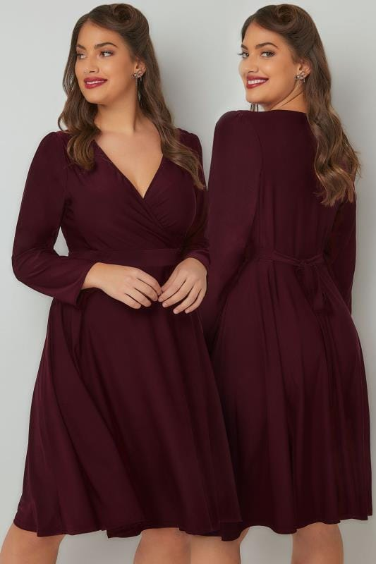 Plus Size Sleeved Dresses LADY VOLUPTUOUS Wine Lyra Dress