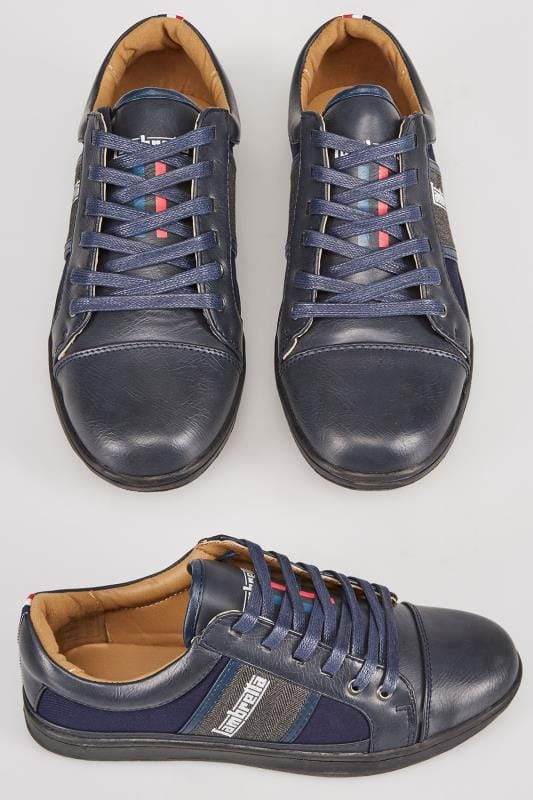 LAMBRETTA Navy & Grey Lace Up Trainer