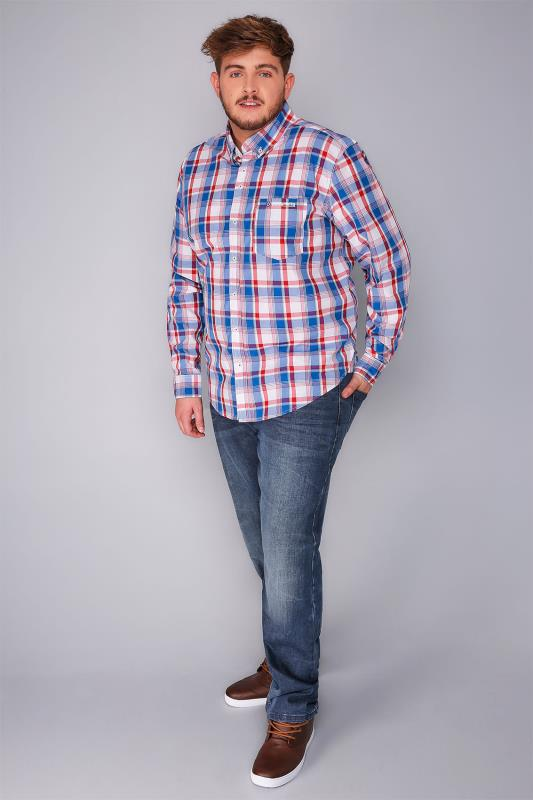LAMBRETTA Red, Blue & White Checked Driftwood Shirt