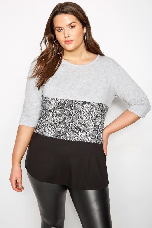 Plus Size T-Shirts Grey Snake Print Colour Block T-Shirt