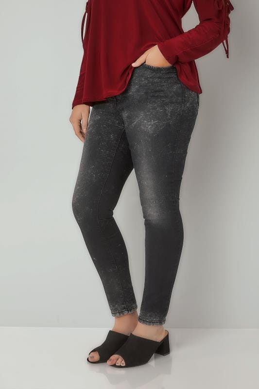 Plus Size Skinny Jeans LIMITED COLLECTION Black Acid Wash Skinny Jeans