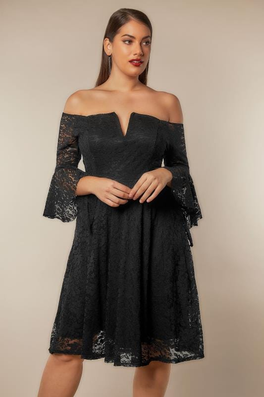 LIMITED COLLECTION Black Bardot Lace Dress With Flute