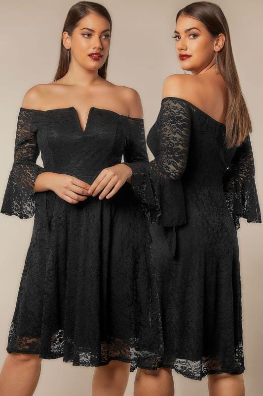 Plus Size Sleeved Dresses LIMITED COLLECTION Black Bardot Lace Dress With Flute Sleeves