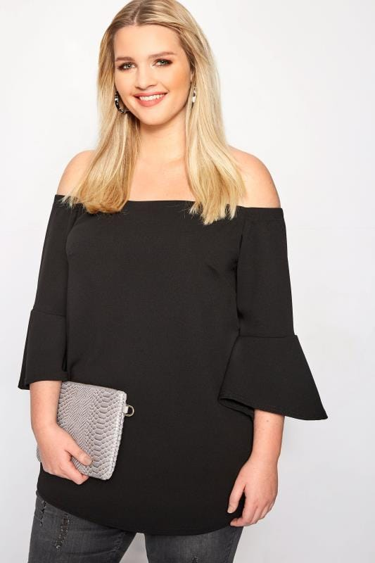 Plus Size Bardot & Cold Shoulder Tops LIMITED COLLECTION Black Bardot Top With Flute Sleeves