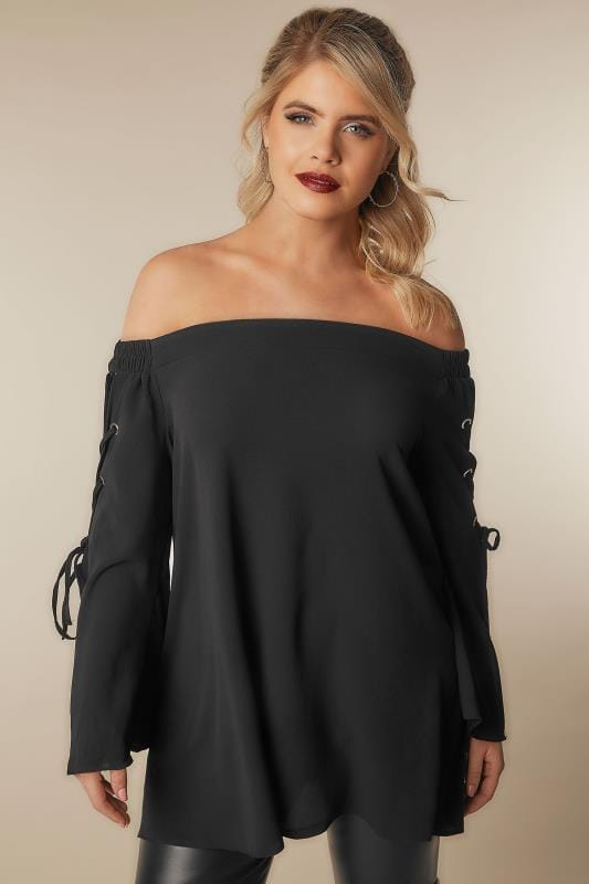 LIMITED COLLECTION Black Bardot Top With Lace Detailing