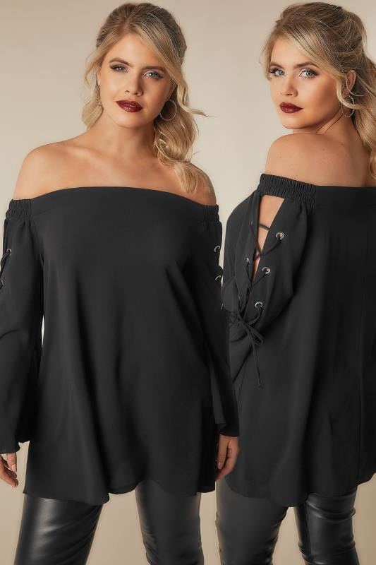 Bardot & Cold Shoulder Tops LIMITED COLLECTION Black Bardot Top With Lace Detailing 210240