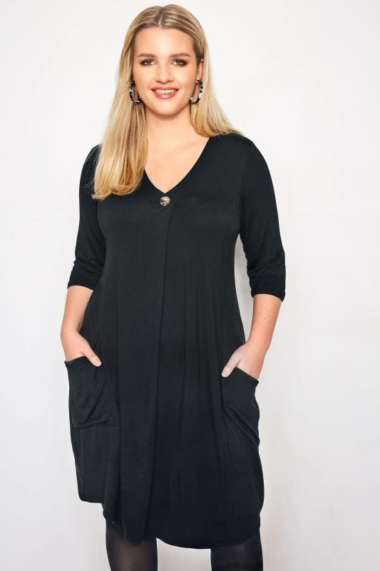 Plus Size Sleeved Dresses LIMITED COLLECTION Black Button Drape Pocket Dress