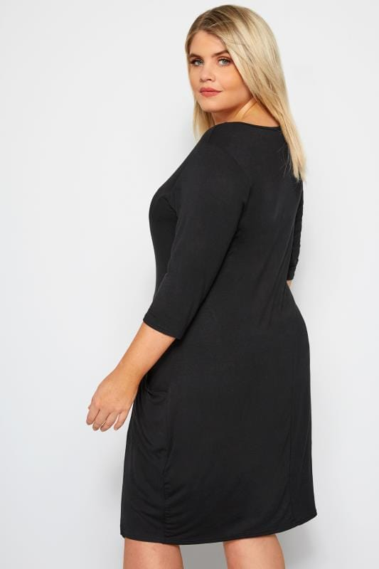 LIMITED COLLECTION Black Button Drape Pocket Dress
