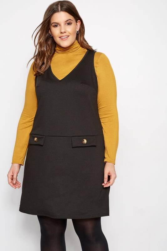 Plus Size Pinafore Dresses LIMITED COLLECTION Black Button Pinafore Dress
