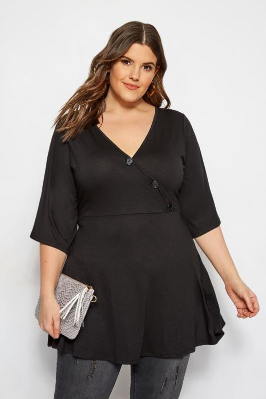 Plus Size Jersey Tops LIMITED COLLECTION Black Button Wrap Top