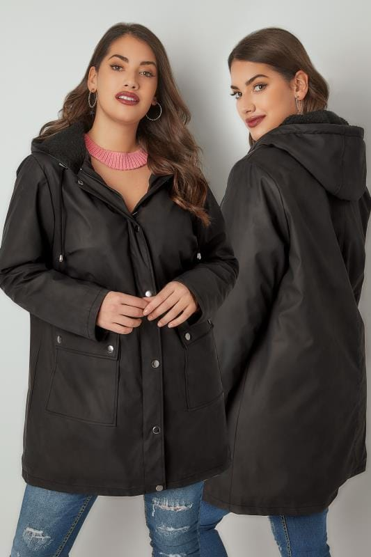 Plus Size Coats LIMITED COLLECTION Black Coated Mac With Sherpa Lined Hood