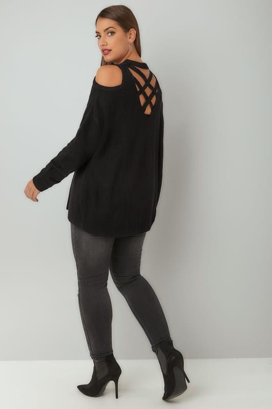 Limited Collection Black Cold Shoulder Knitted Jumper With