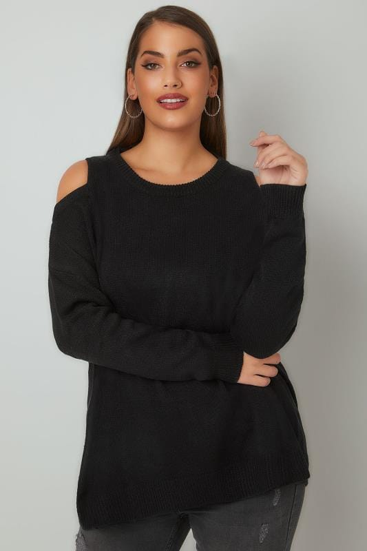 LIMITED COLLECTION Black Cold Shoulder Knitted Jumper With Lattice Back