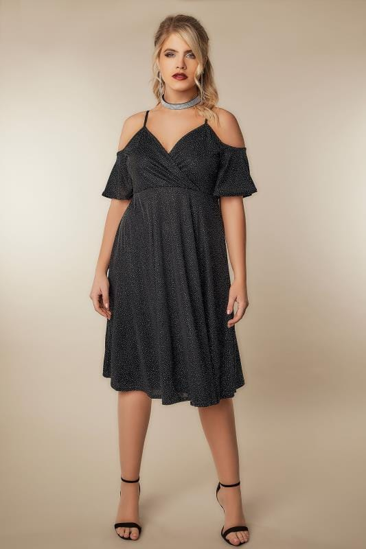 Limited Collection Black Cold Shoulder Wrap Dress With -6434