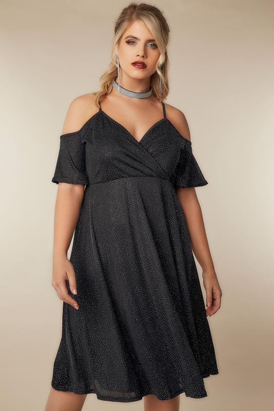 Plus Size Party Dresses LIMITED COLLECTION Black Cold Shoulder Wrap Dress With Holographic Glitter
