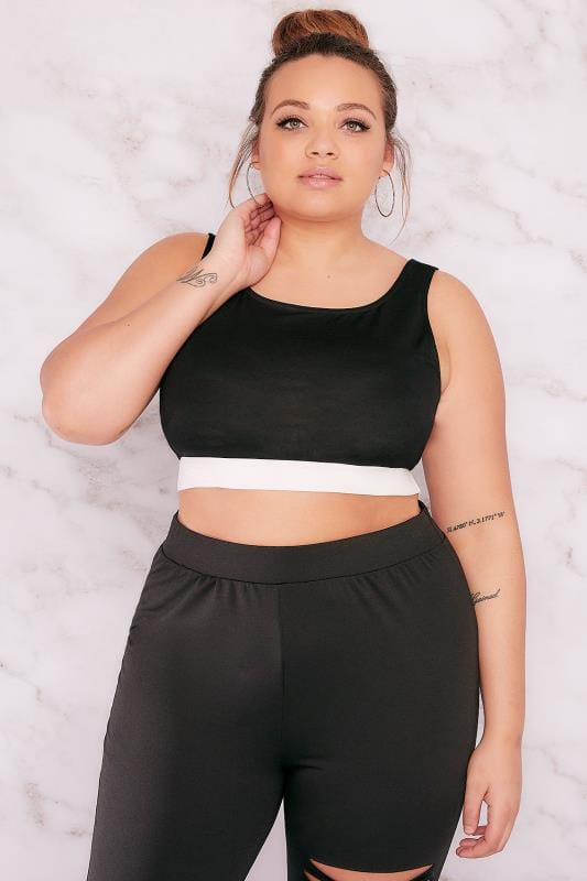 LIMITED COLLECTION Black Crop Top With White Elastic Waistband