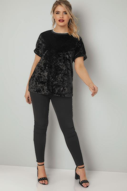 LIMITED COLLECTION Black Crushed Velour Top With Tipped Trims