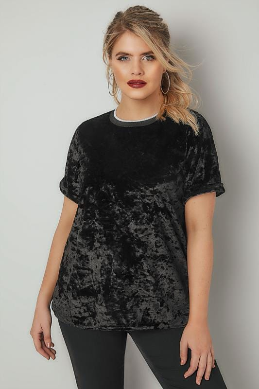 T-Shirts LIMITED COLLECTION Black Crushed Velour Top With Tipped Trims 210279