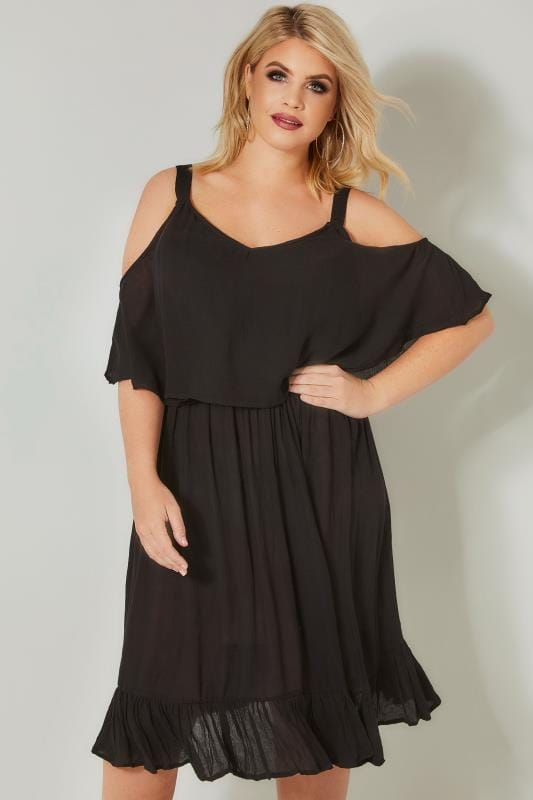 Plus Size Midi Dresses LIMITED COLLECTION Black Double Layered Cold Shoulder Dress