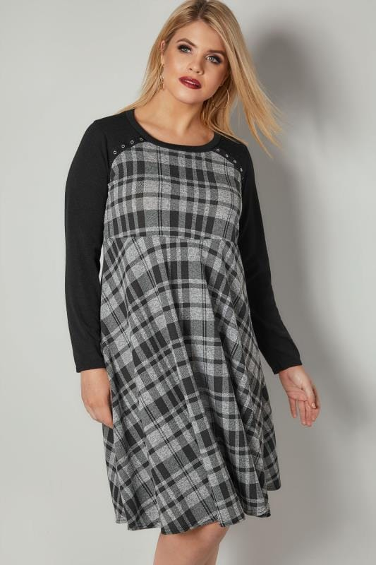 Sleeved Dresses LIMITED COLLECTION Black & Grey Checked Skater Dress With Eyelet Details 210331