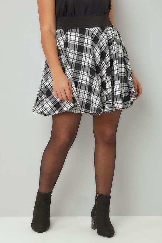 Skater Skirts LIMITED COLLECTION Black & Grey Checked Skater Skirt 210253