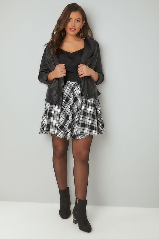 LIMITED COLLECTION Black & Grey Checked Skater Skirt