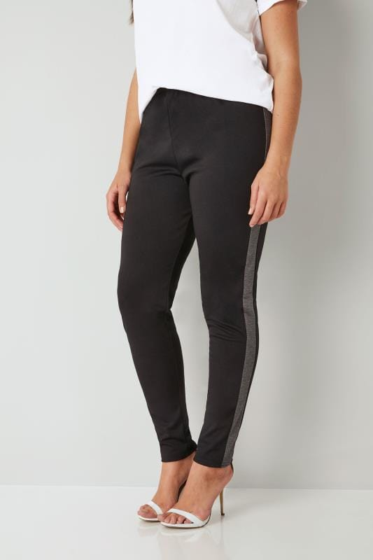 Grote maten Grote maten Fashionoble Leggings LIMITED COLLECTION Black & Grey Leggings With Side Stripe