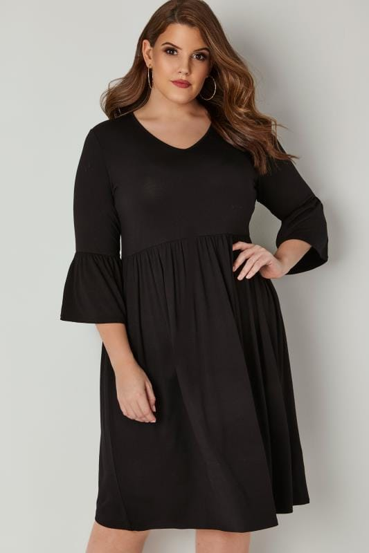 Plus Size Skater Dresses LIMITED COLLECTION Black Jersey Dress With Flute Sleeves