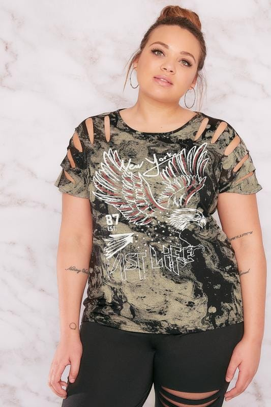 "LIMITED COLLECTION Black & Khaki Acid Wash ""New York"" Slashed Shoulder Top"