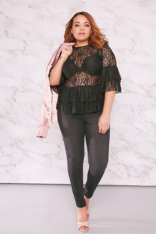 LIMITED COLLECTION Black Lace Top With Tiered Frill Sleeves & Hem