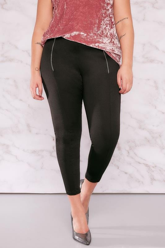 LIMITED COLLECTION Black Jeggings With Double Zip Detail