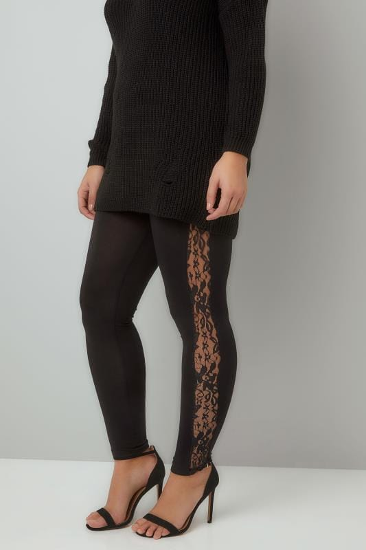 Plus Size Fashion Leggings Black Leggings With Floral Lace Insert
