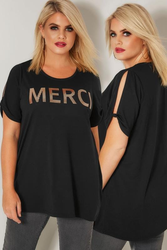 Plus Size Day Tops LIMITED COLLECTION Black 'Merci' Cold Shoulder Top