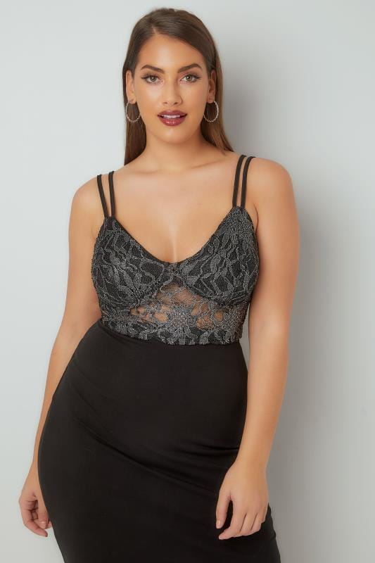 LIMITED COLLECTION Black Metallic Floral Lace Bralette