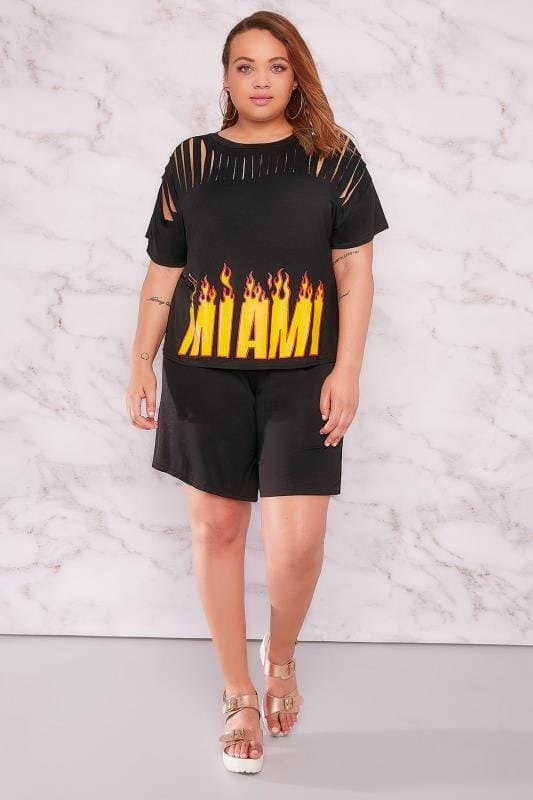 LIMITED COLLECTION Black Miami Flame Print Top With Shredded Yoke
