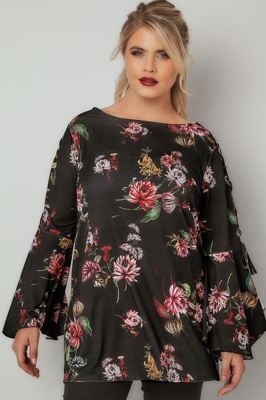 LIMITED COLLECTION Black & Multi Floral Top With Lace-Up Shoulders & Flute Sleeves